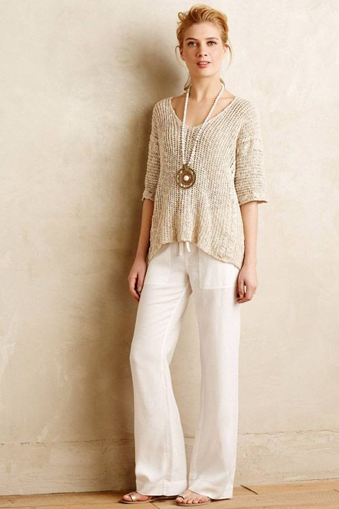 Beige and white clothing ideas with trousers, blouse, jeans