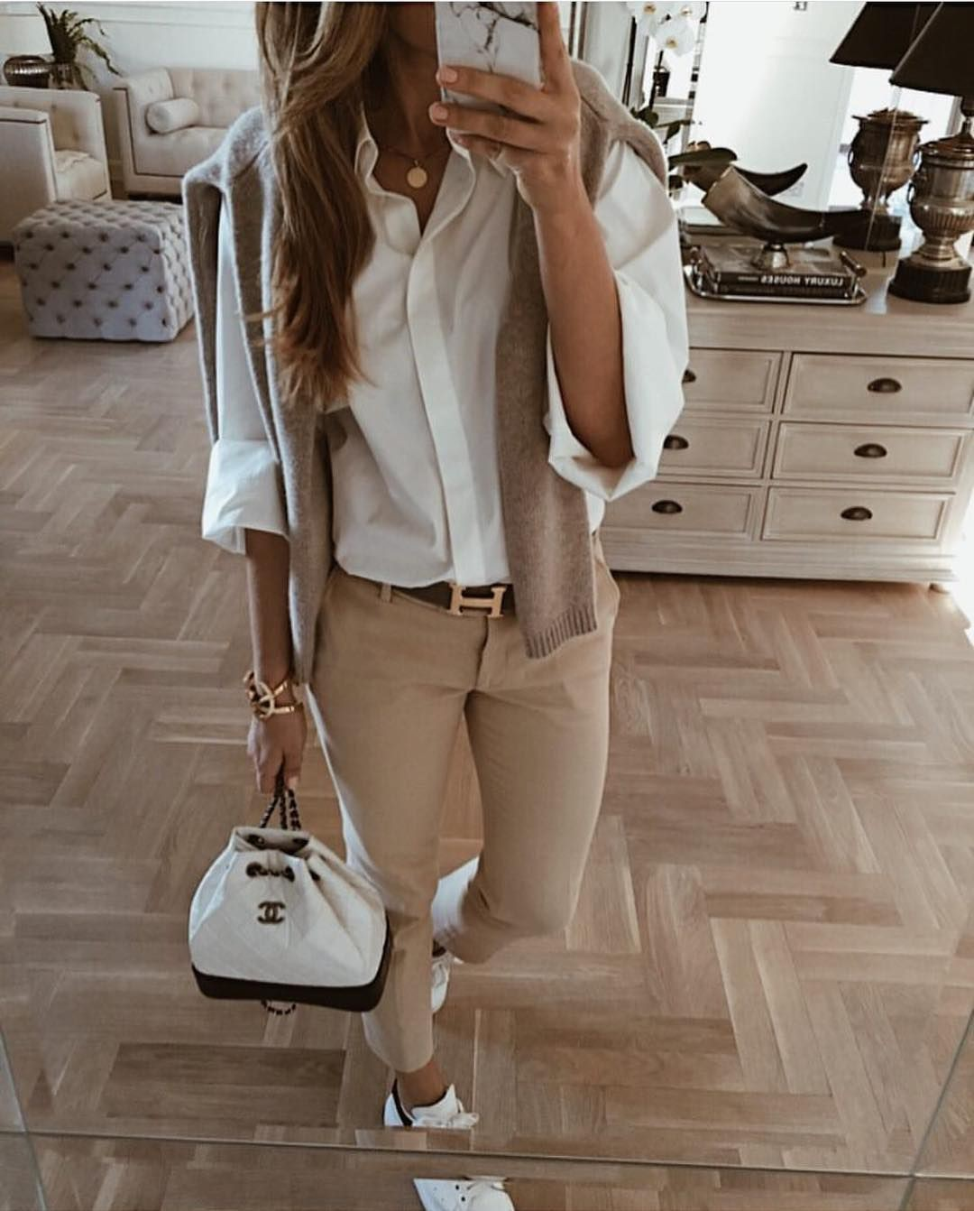 Beige and khaki classy outfit with trousers, blazer, shirt