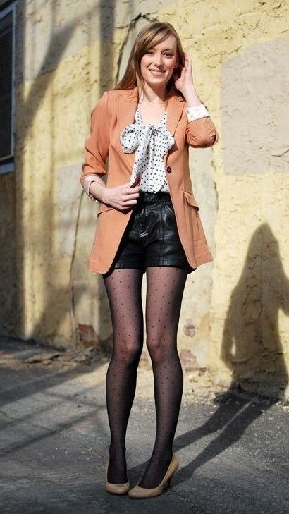 Leather shorts leather stockings outfits