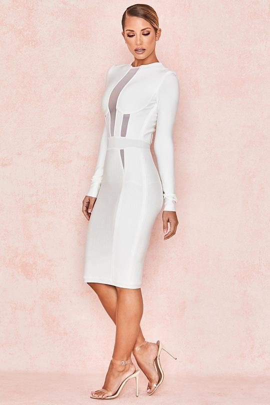 White lookbook dress with cocktail dress, sheath dress