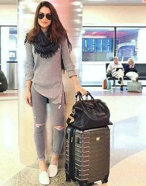 Outfit ropa para viajar, street fashion, hand luggage, casual wear