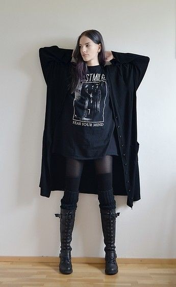 Clothing ideas goth grunge fashion knee high boot, alternative rock