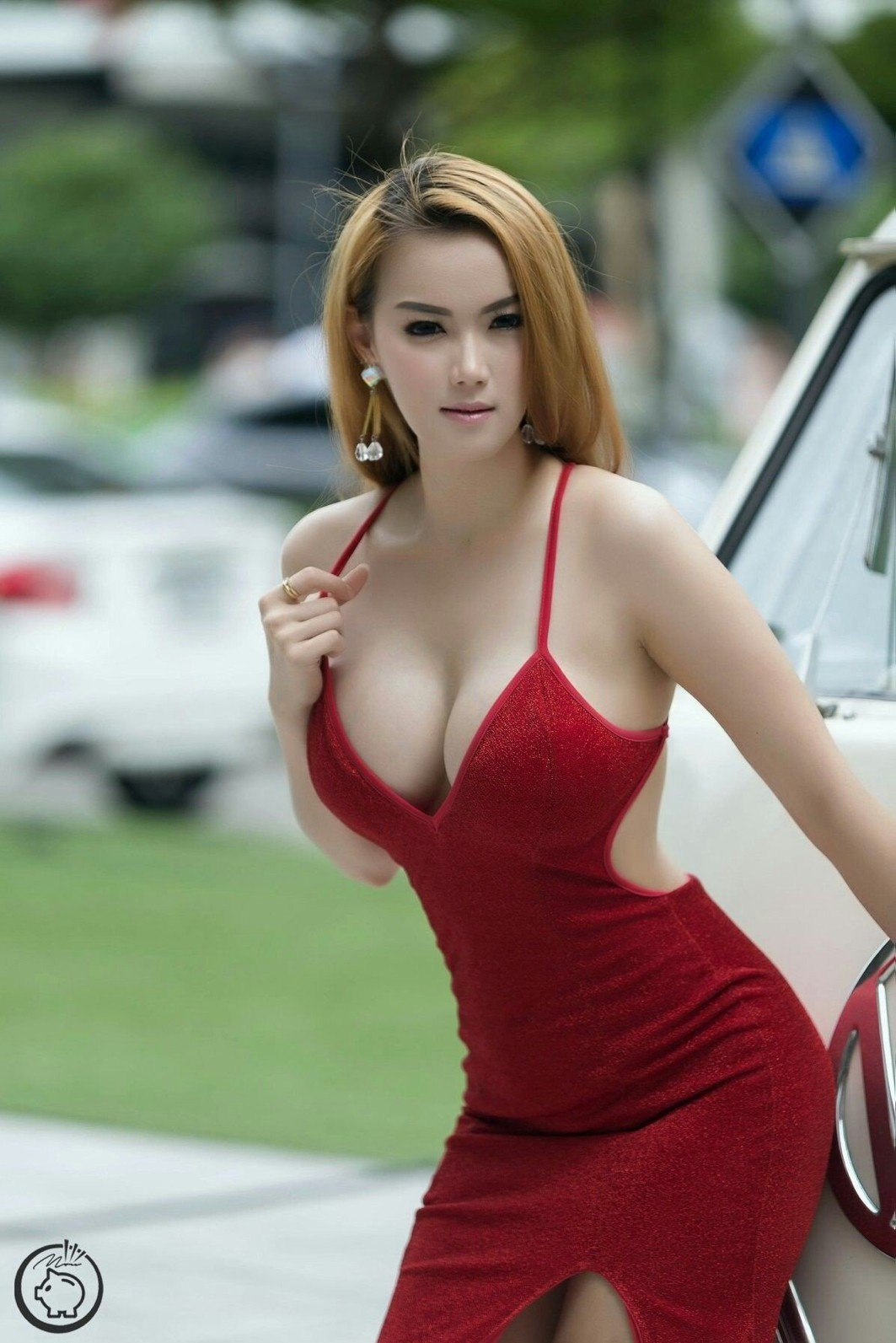 Outfit ideas busty tight dress, party dress, romper suit, photo shoot, brown hair, long hair