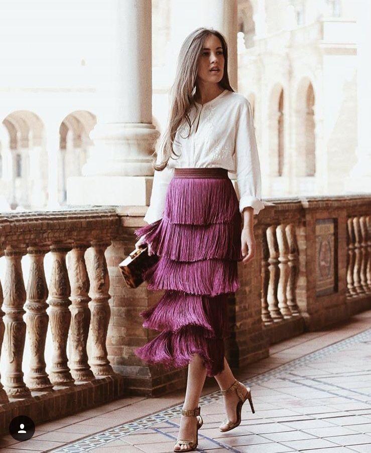 Dresses ideas falda de flecos twinset fringed skirt, street fashion