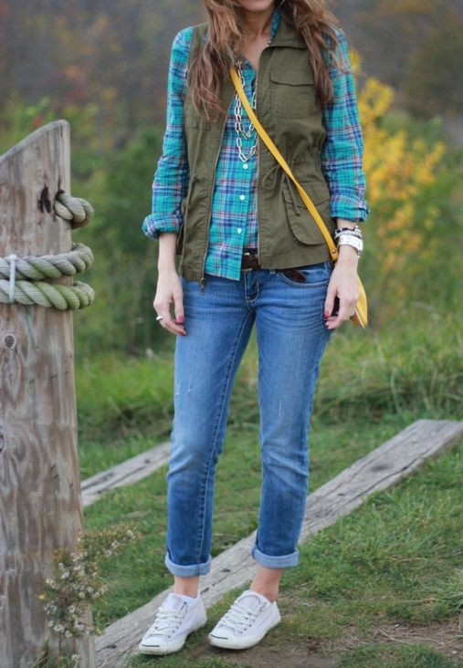 Green and teal colour outfit ideas 2020 with tartan, shorts, jacket