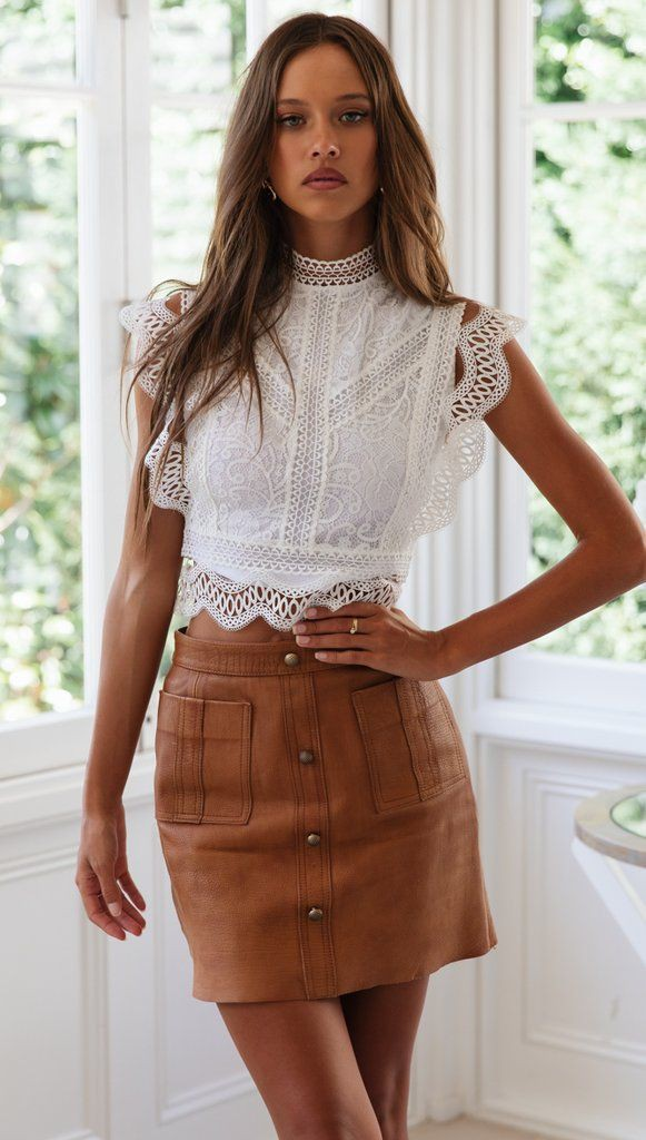 Brown and beige colour outfit ideas 2020 with sleeveless shirt, crop top, top