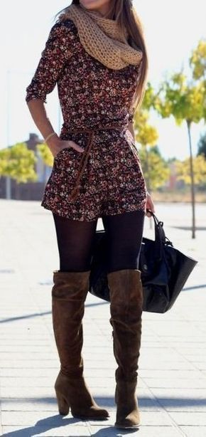Colour outfit, you must try romper with tights knee high boot, winter clothing