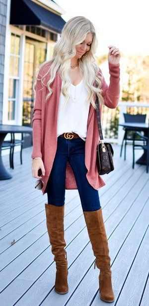 Brown and pink clothing ideas with blazer, shirt, denim