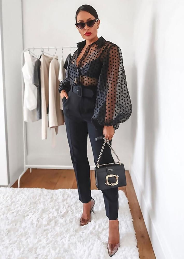 Black polka dot organza blouse