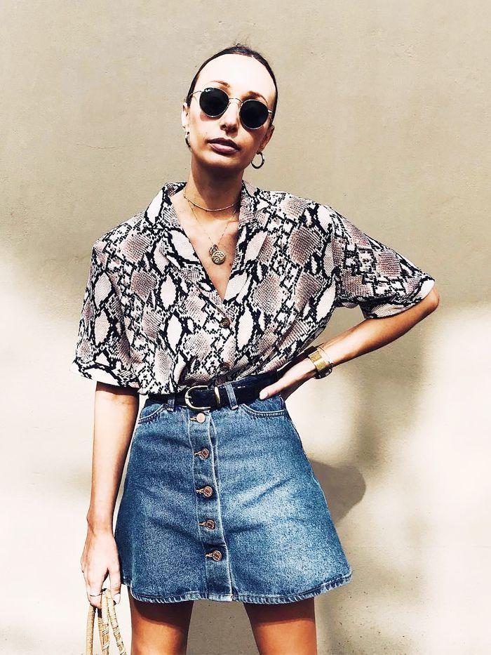 Moda animal print 2019 snake, animal print, t shirt
