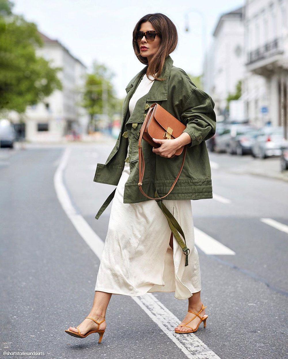 Colour combination khaki jacket outfit, street fashion, trench coat