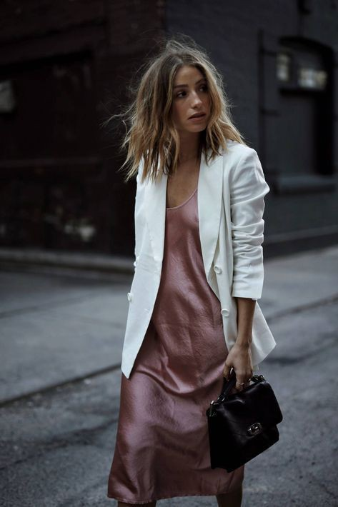 Slip dress and blazer, street fashion, fashion model, slip dress