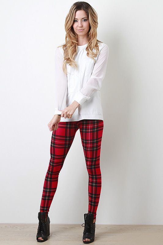 Red plaid legging outfit, high rise