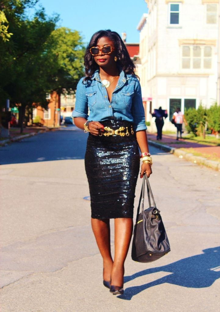 Trendy clothing ideas chambray and sequins, street fashion, electric blue, pencil skirt, cobalt blue