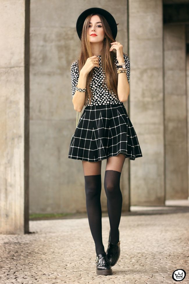 Black plaid skirt outfit, street fashion, fashion model, crop top