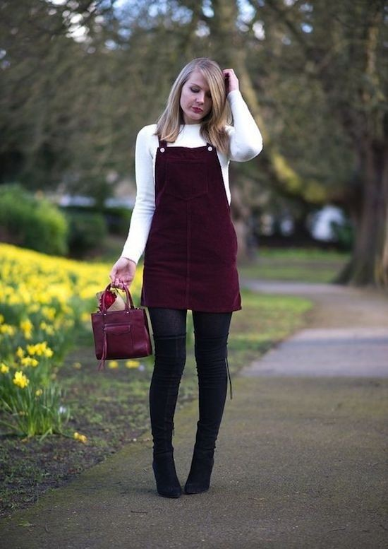 Dungaree dress outfit winter, winter clothing, street fashion, casual wear, t shirt