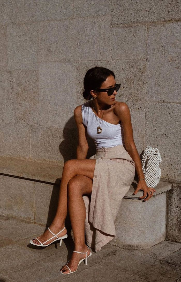 White strappy heels style strappy wedge sandal, sleeveless shirt