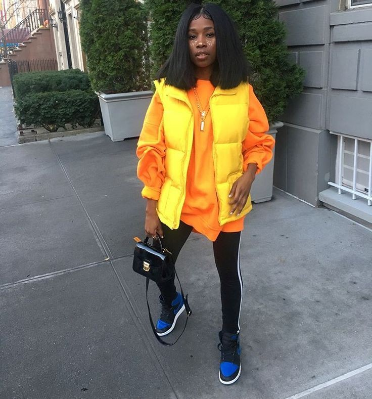 Yellow and orange lookbook fashion with blazer, jacket, denim