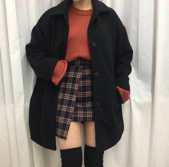 Korean skirt outfit ideas plaid pleated skirt, korean language