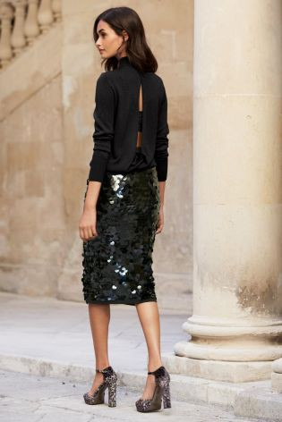 Black sequin skirt outfit little black dress, street fashion