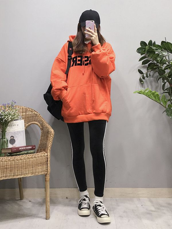 Orange and pink lookbook fashion with sportswear, trousers, jacket