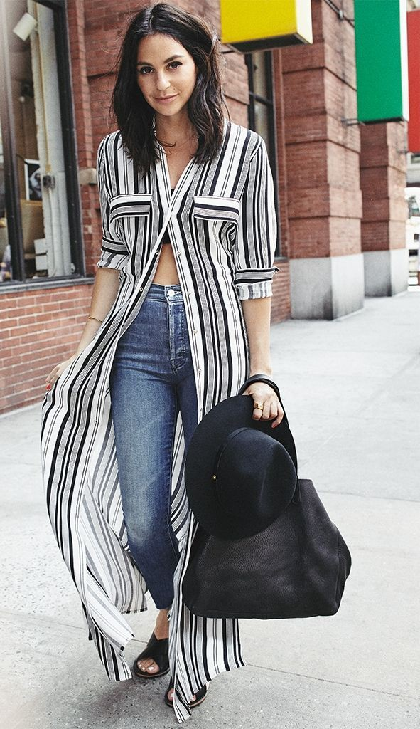 Long shirt dress outfit black and white, street fashion