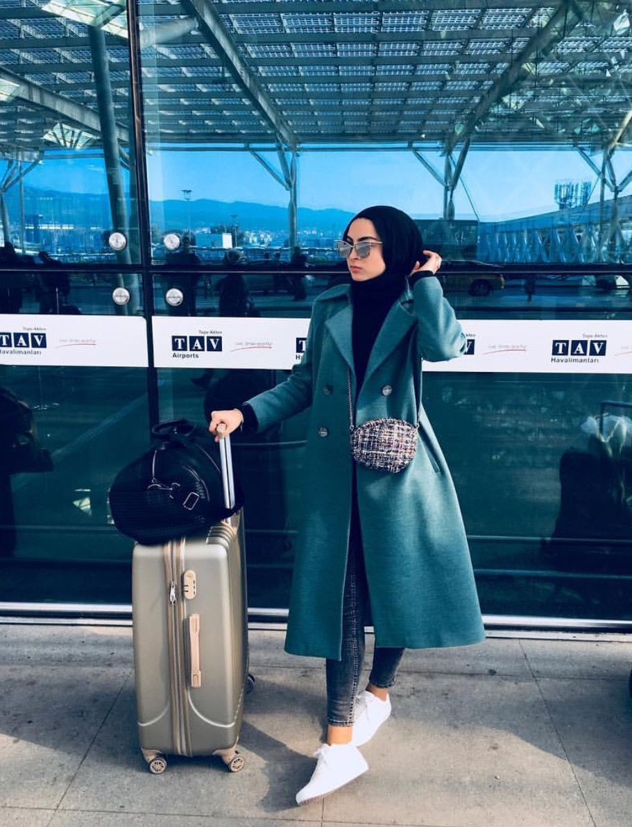 Hijabi girl on airport, modest fashion, street fashion, informal wear, photo shoot, trench coat, ...