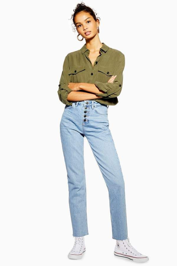 Topshop bleached buttonfly straight jeans