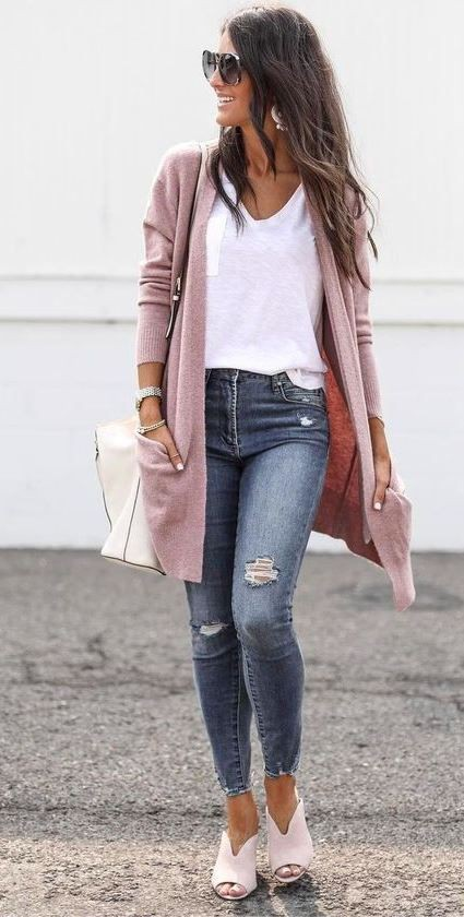 Pink classy outfit with jacket, blazer, denim