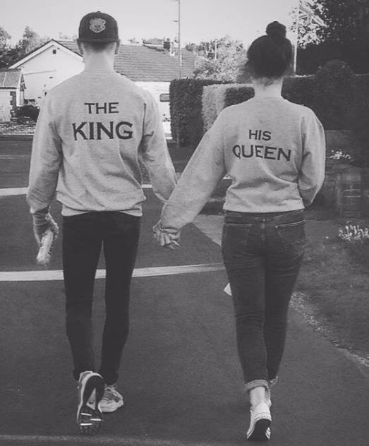 Queen and king boyfriend black and white, t shirt