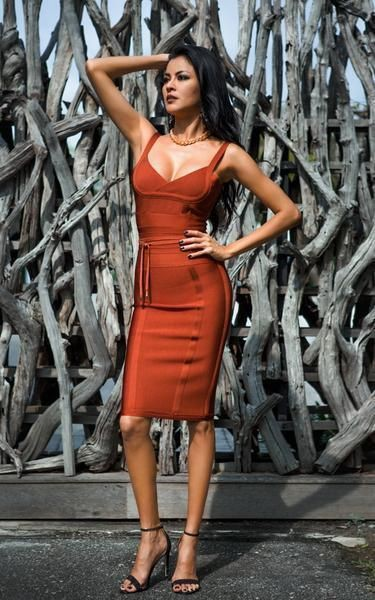 Orange and brown clothing ideas with cocktail dress, wedding dress, party dress, spaghetti strap ...