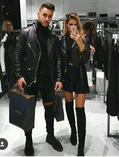 Colour outfit couple outfit goals, leather jacket