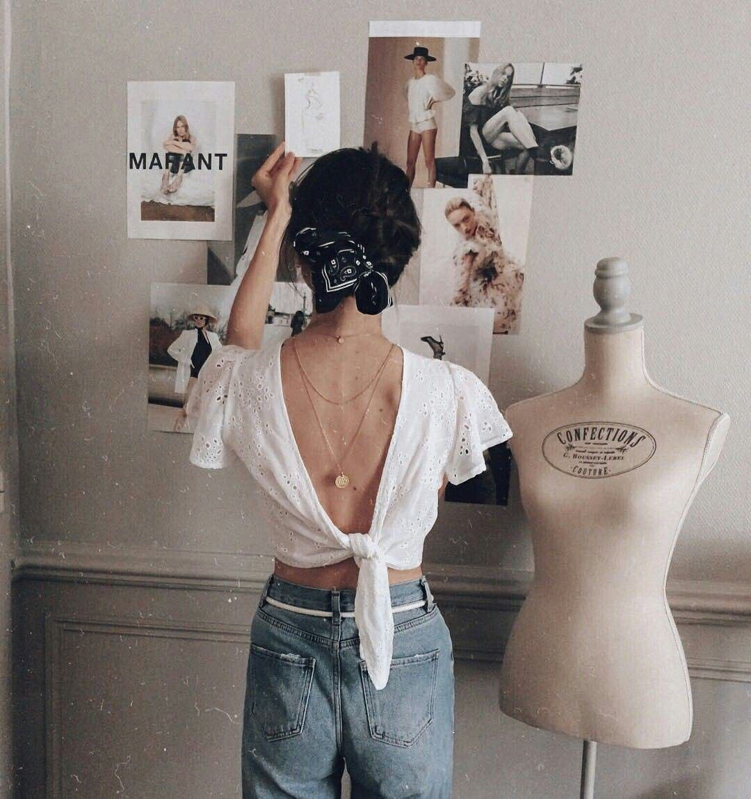 Designer outfit with vintage clothing, jeans