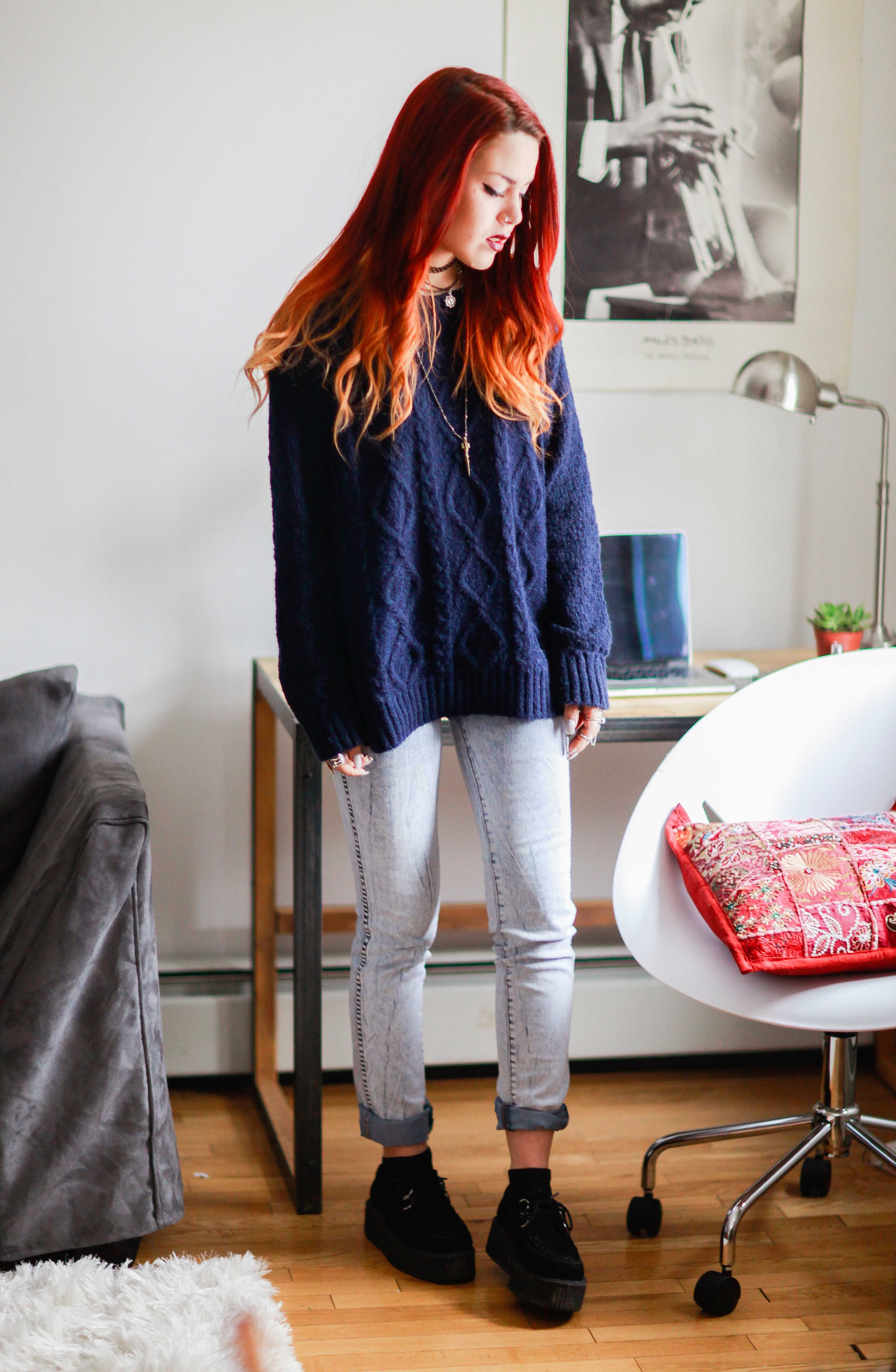 Blue colour combination with fashion accessory, ripped jeans, trousers