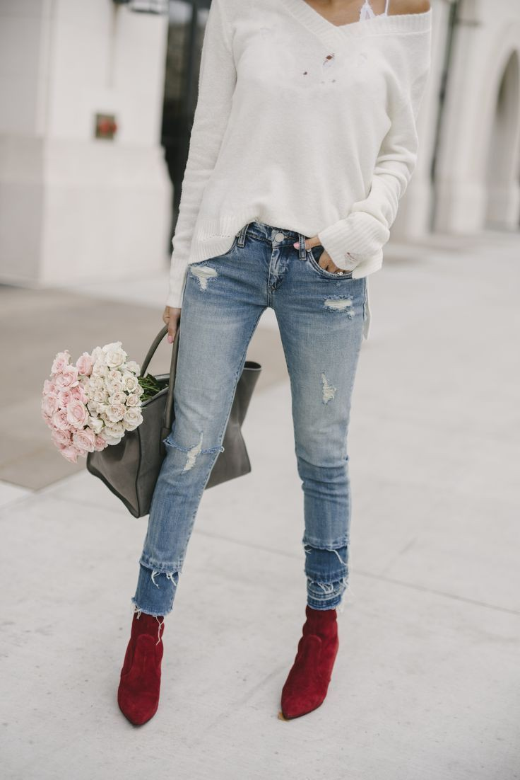 White and pink colour combination with ripped jeans, blazer, denim