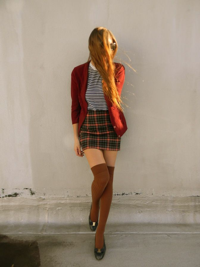 Orange and yellow instagram fashion with fashion accessory, tights, tartan
