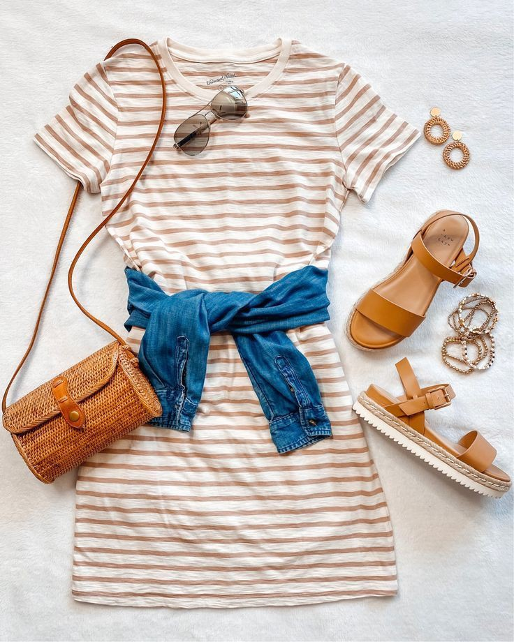 Beige and blue colour combination with fashion accessory, maxi dress