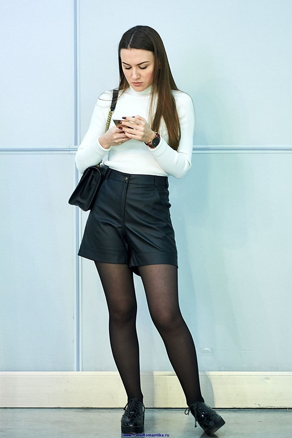 Black and white outfit with miniskirt, pantyhose, stocking