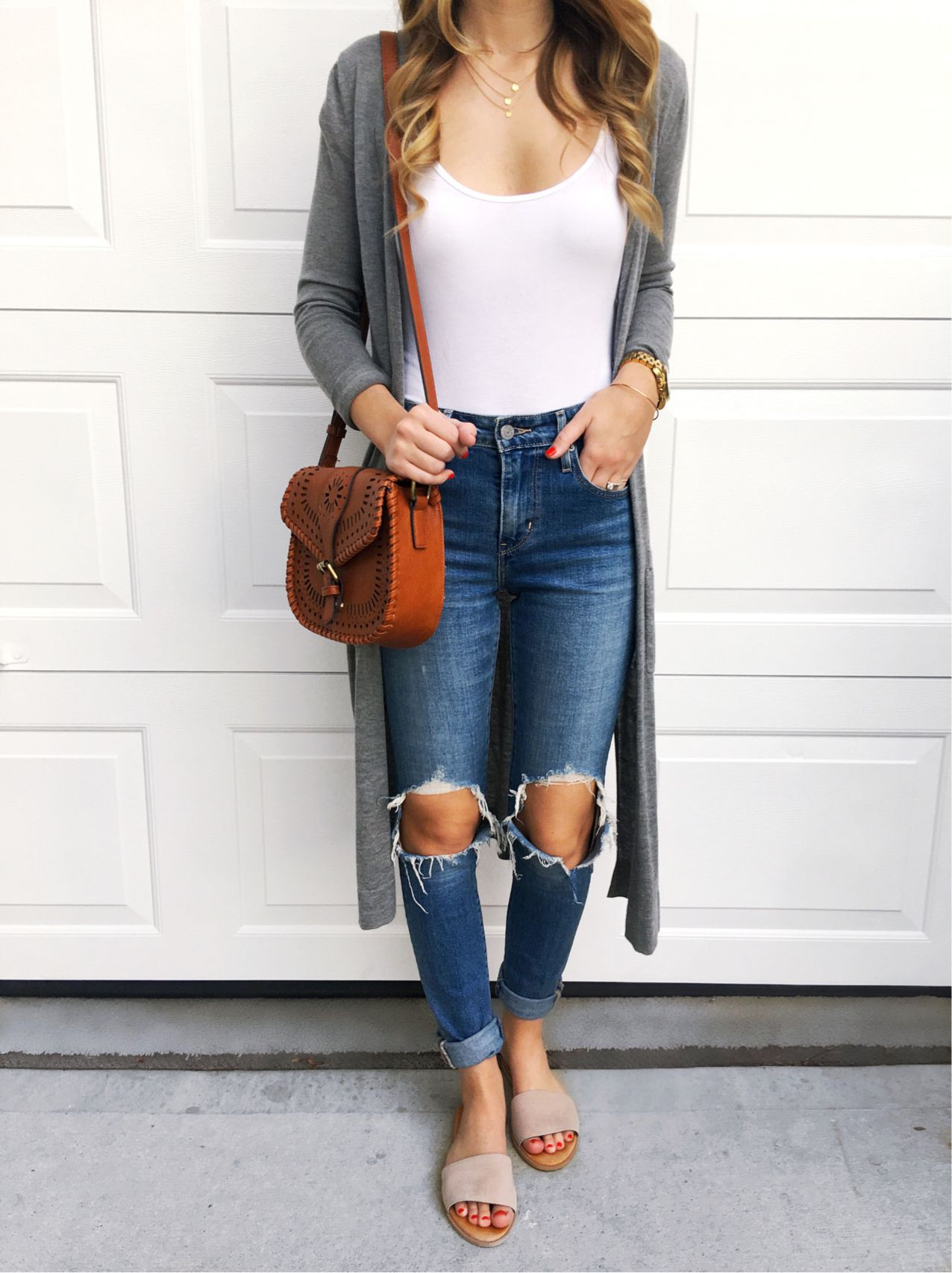 Blue outfit ideas with trousers, crop top, jacket