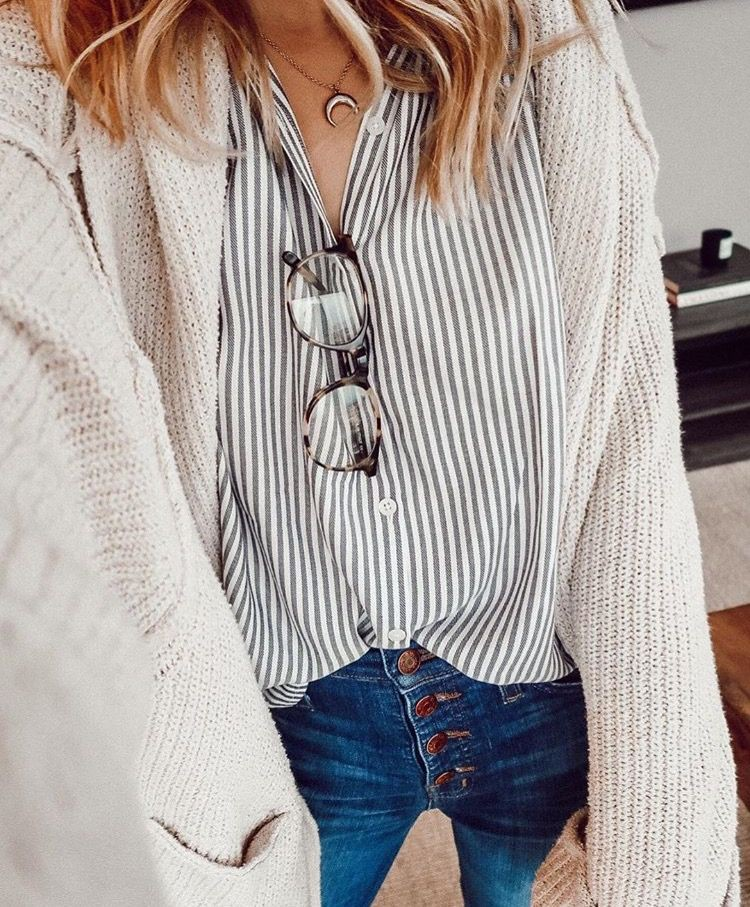 White colour ideas with sweater, blouse, jeans
