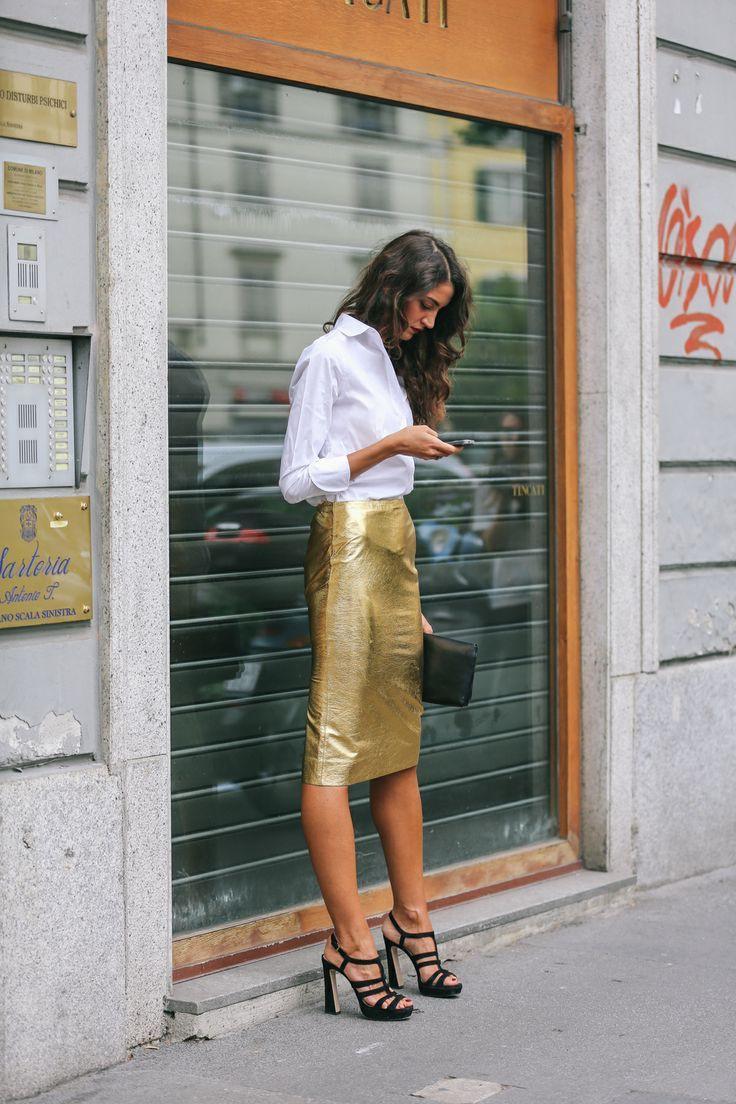 Gold skirt outfit ideas, street fashion, pencil skirt, dress shirt, polo neck