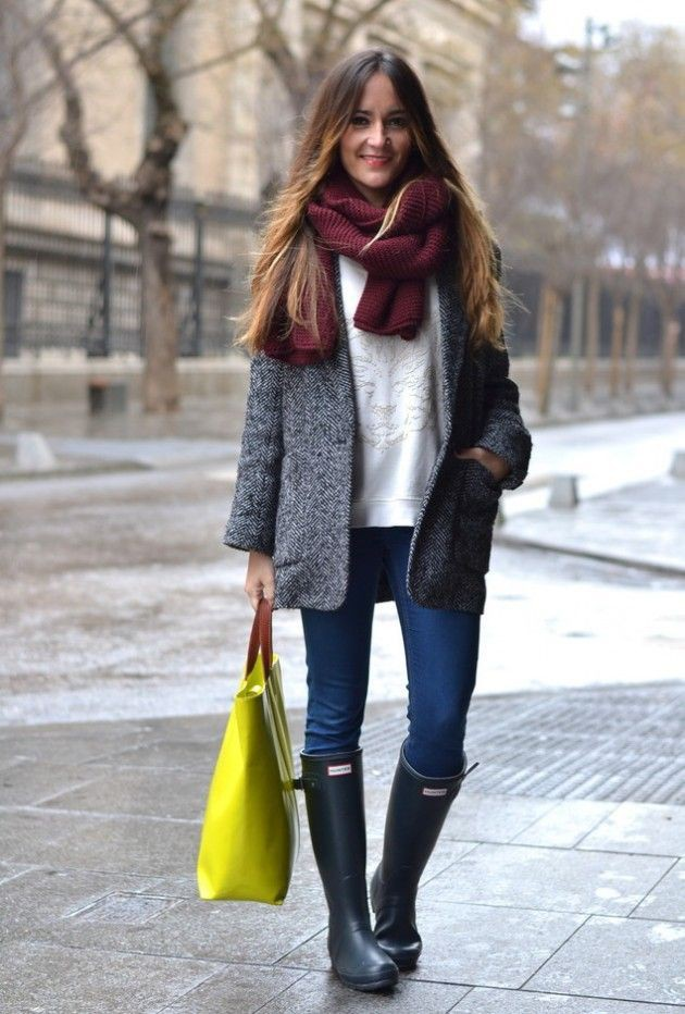 Colour outfit ideas 2020 winter rain outfit, wellington boot, street fashion, casual wear, cobal ...
