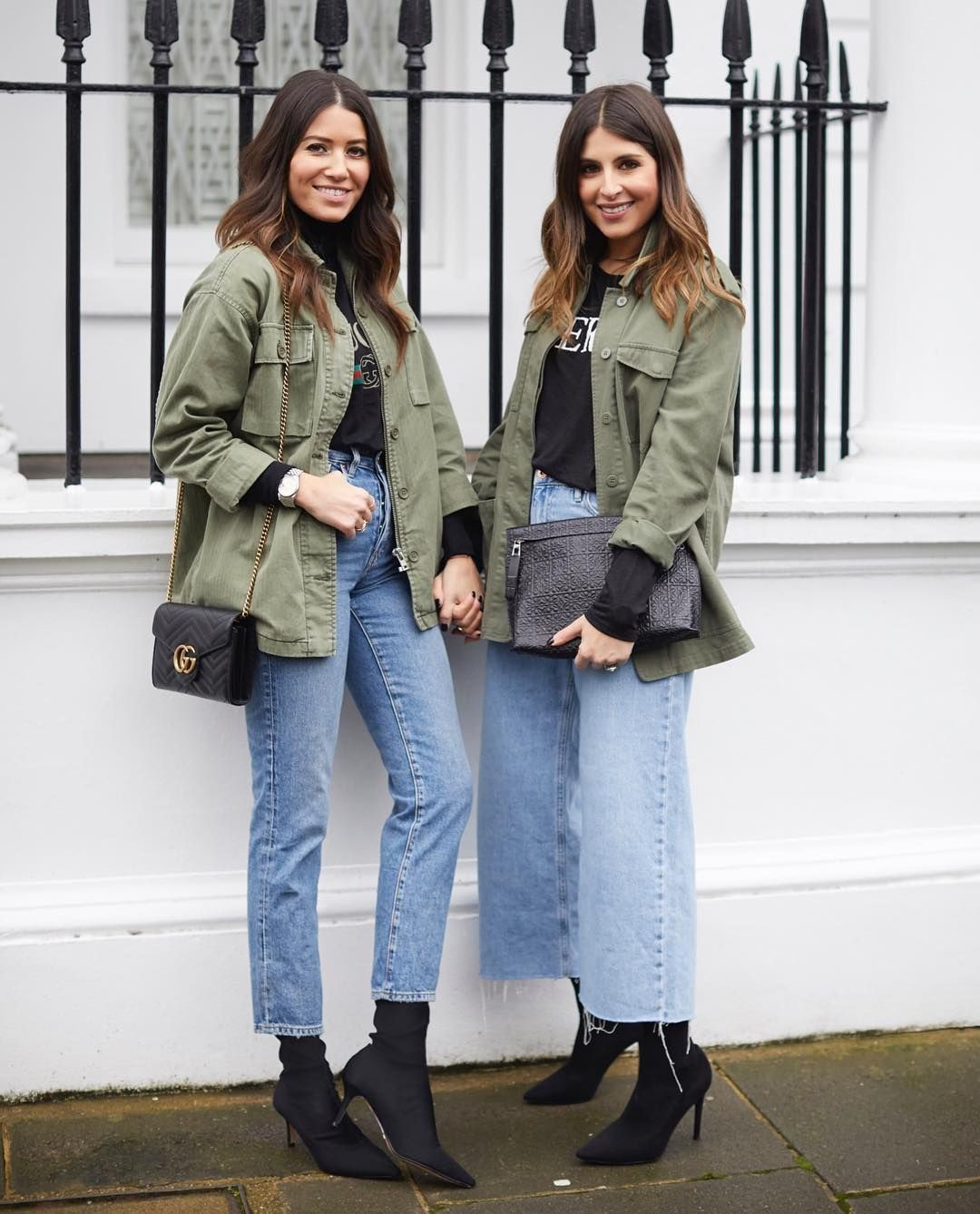 Khaki outfit style with denim, parka, jeans