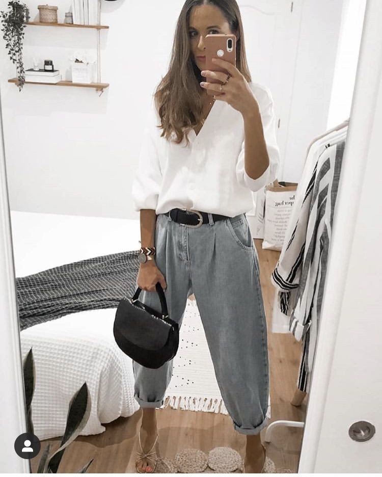 White style outfit with sportswear, mom jeans, trousers