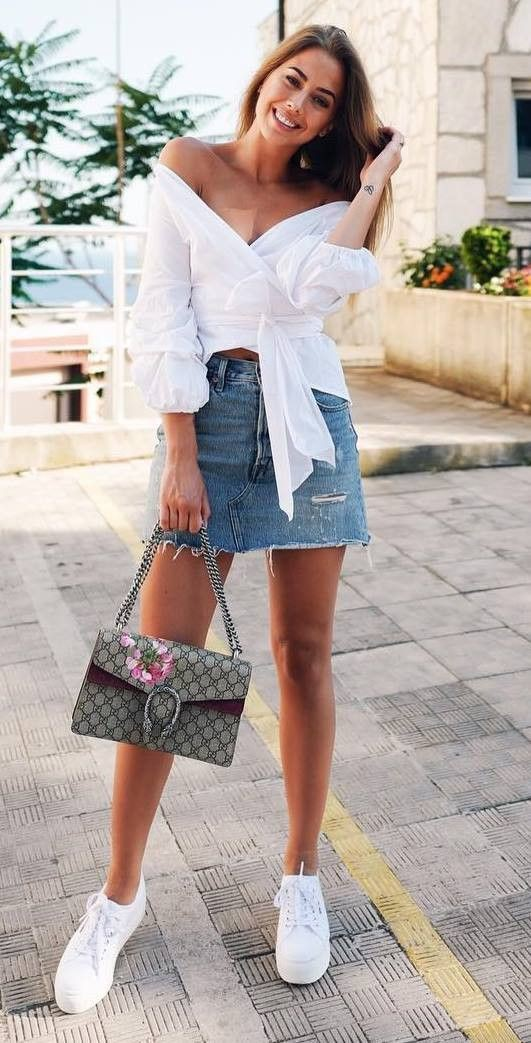 Style outfit cool summer outfits, street fashion, leather skirt, casual wear, denim skirt