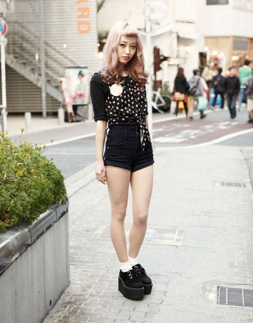 Shorts street style japan japanese street fashion, black and white