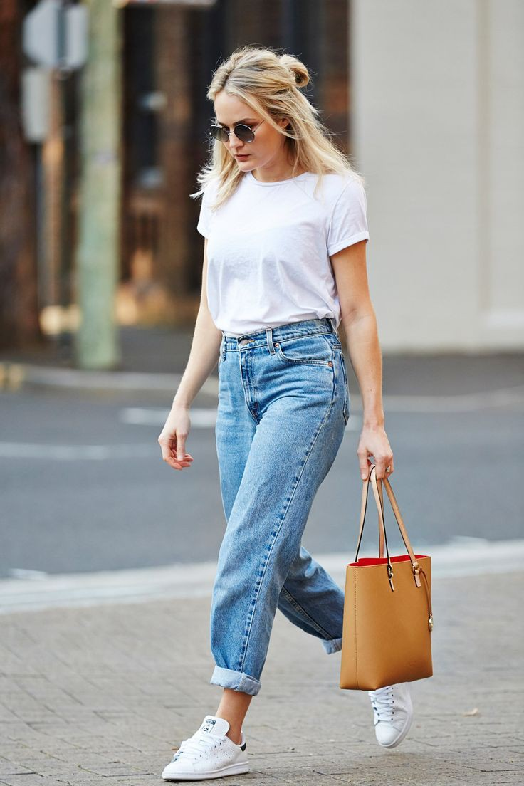 White style outfit with jean short, mom jeans, sweater