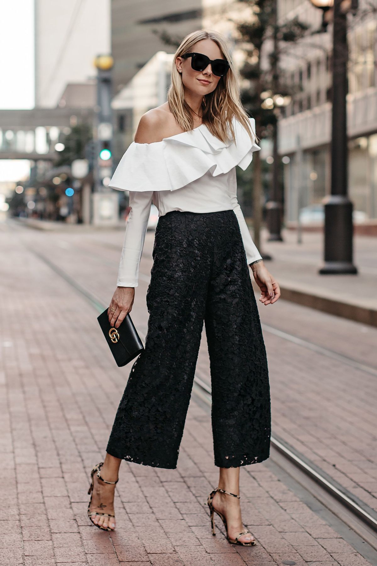 Fashionnova black lace culottes, street fashion, casual wear