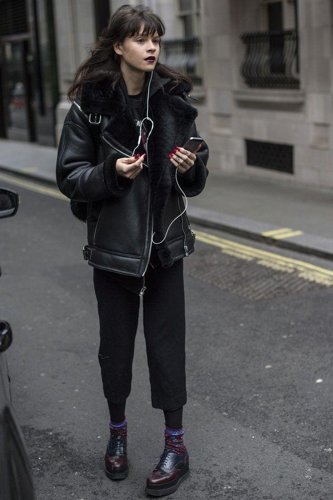 Black model street style london fashion week, leather jacket