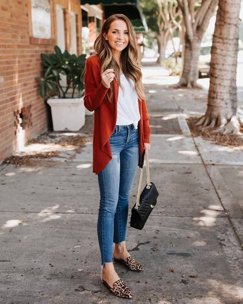 Flat mules with skinny jeans